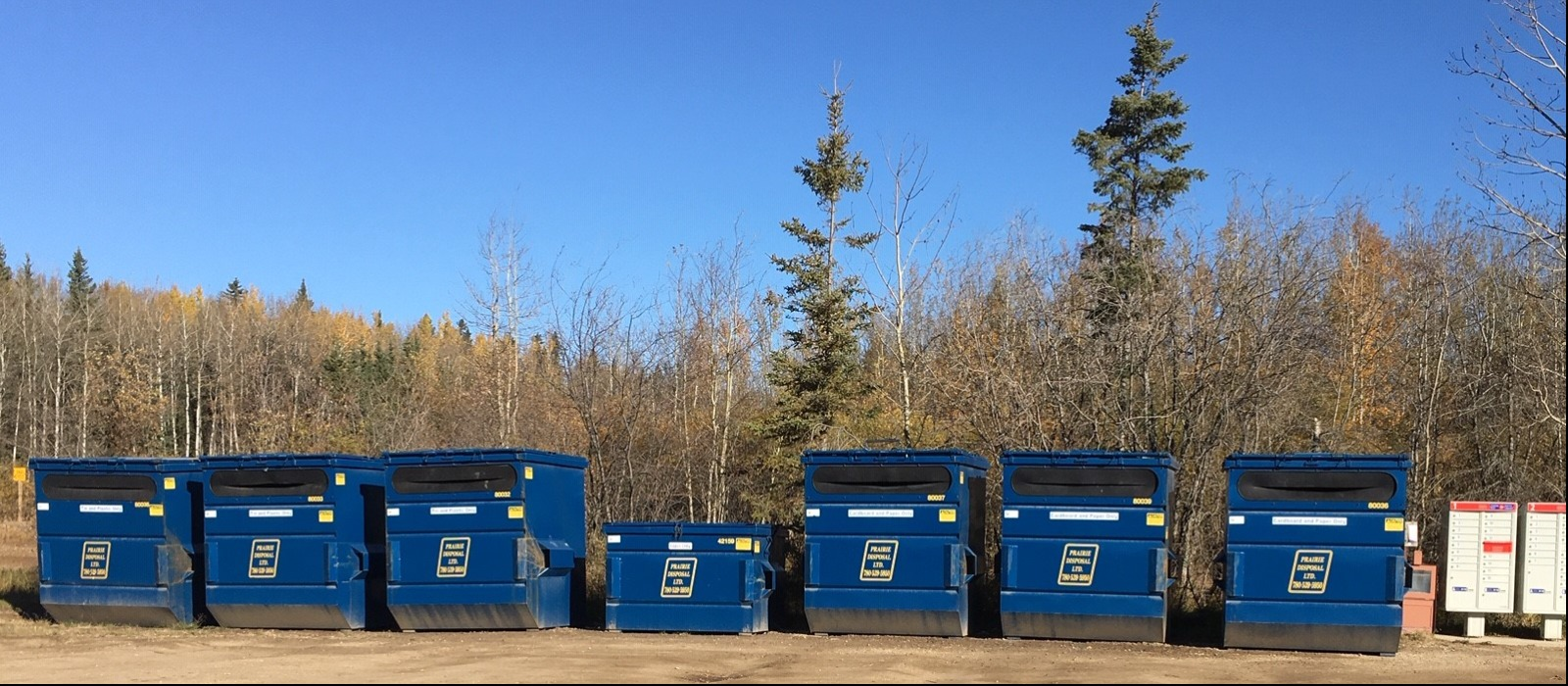 Large blue metal recycling bins with trees in the background