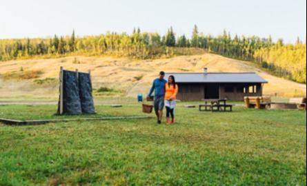 Couple walking at campground