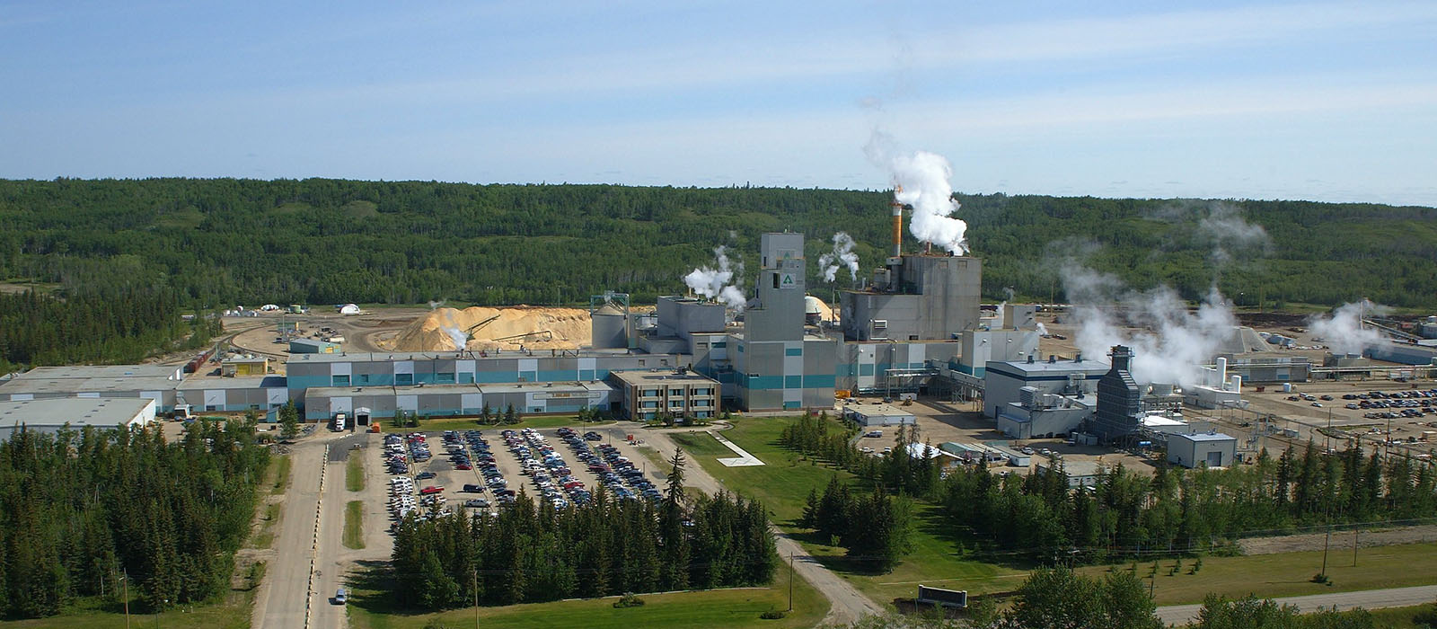 View of forestry industry mill
