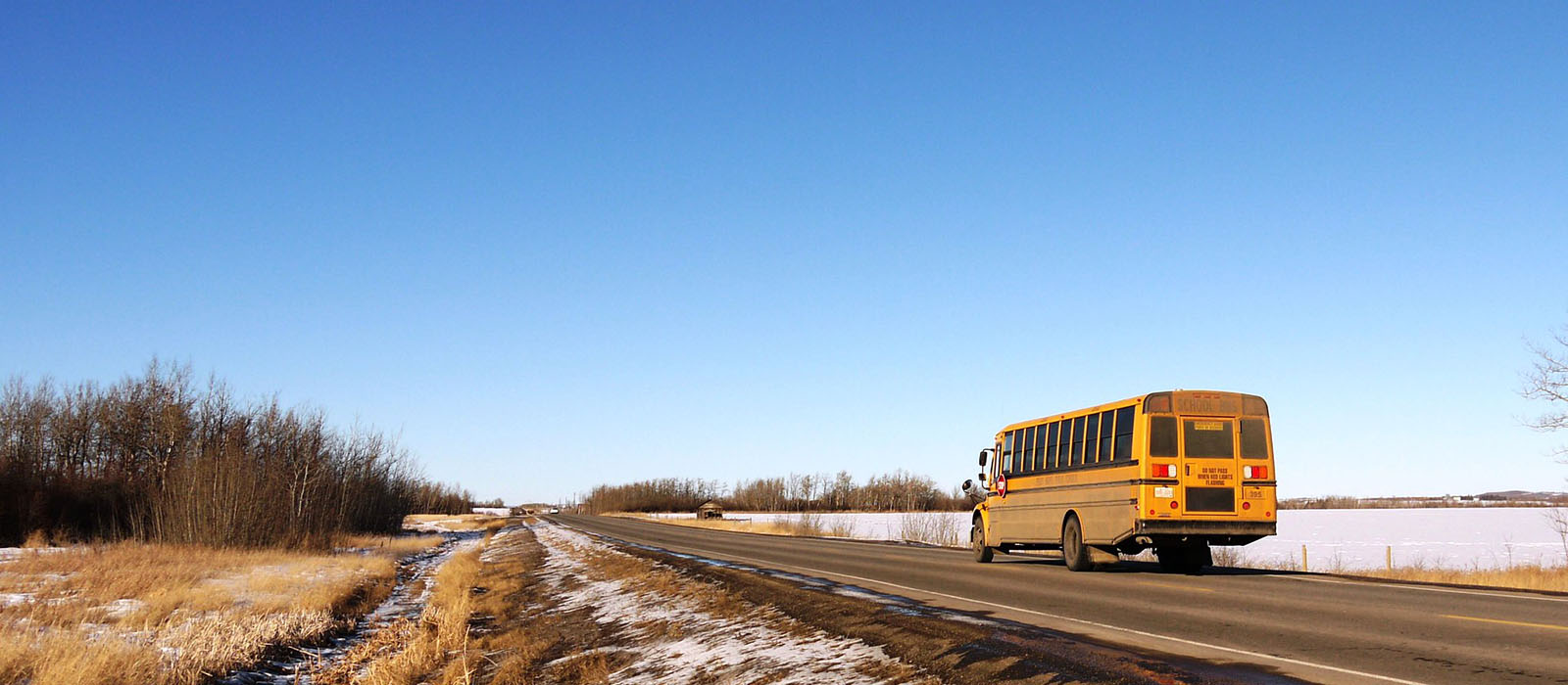 Paved Road with School Bus